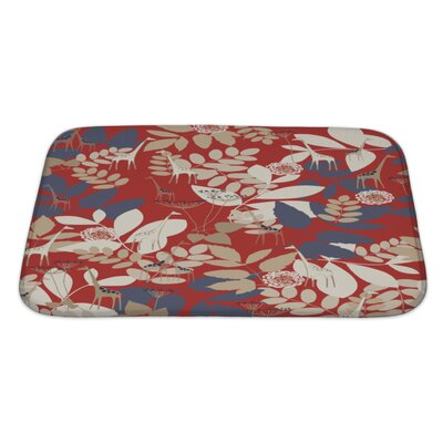 Flowers Displaying a Giraffe and a Poetic Jungle Bath Rug Size: Large