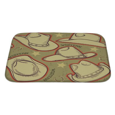 Vintage Cowboy Hats Pattern for Western Bath Rug Size: Large