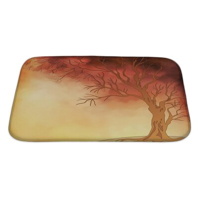 Nature Watercolor Landscape with Autumn Tree Digital Painting Bath Rug Size: Large