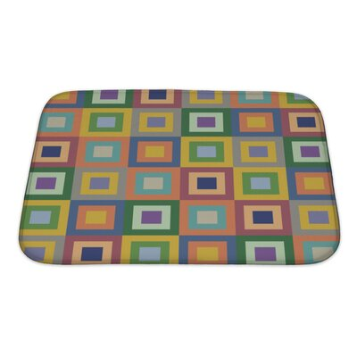 Cappa Retro Styled Pattern with Colorful Squares Bath Rug Size: Small