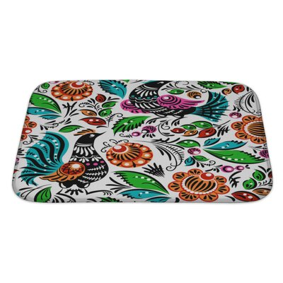 Birds Folk Bath Rug Size: Large