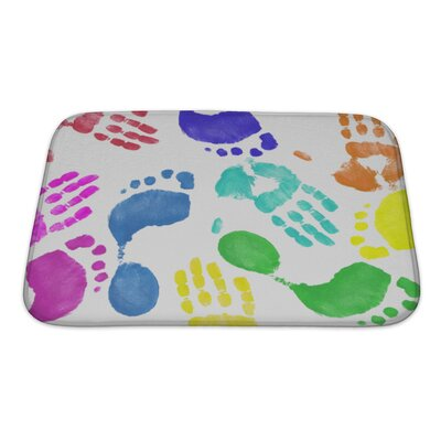 Human Touch Finger Painted Hand and Footprint Pattern Bath Rug Size: Small