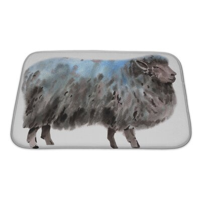 Animals Watercolor of a Sheep Bath Rug Size: Small