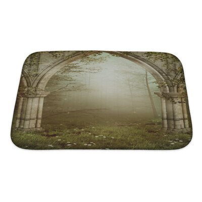 Landscapes Foggy�Forest�with�Old�Ruins�Bath�Rug Size: Small