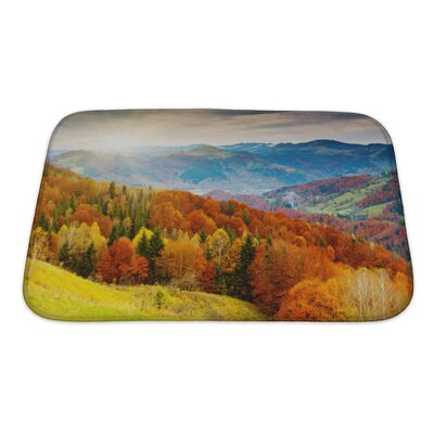 Landscapes the Mountain Autumn Landscape with Colorful Forest Bath Rug Size: Small