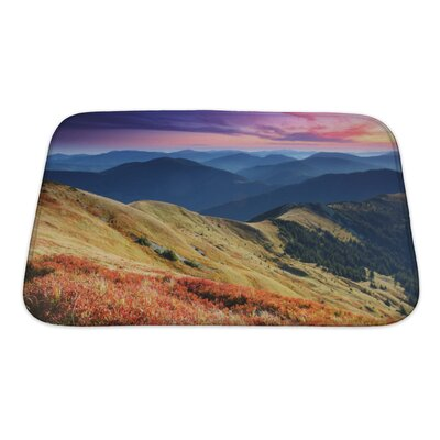 Landscapes Majestic Sunset in the Mountains Landscape HDR Image Bath Rug Size: Small