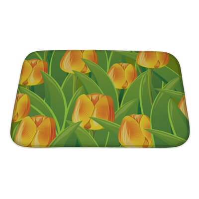 Flowers From Tulips and Leaves Bath Rug Size: Small