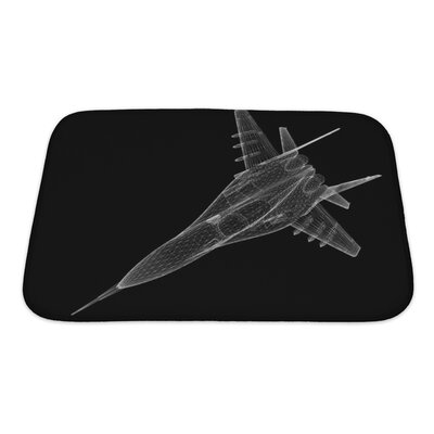Aircraft Fighter Plane Model, Body Structure, Wire Model Bath Rug Size: Small, Color: Black