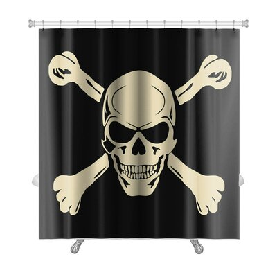 Danger Evil Skull with Bones Warning Sign Premium Shower Curtain