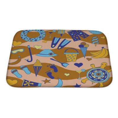 Marine Interesting Pattern with Beach Bath Rug Size: Small