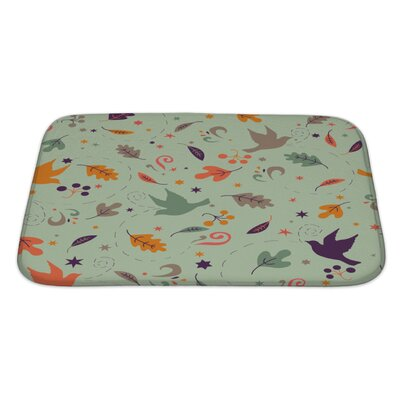 Gamma Pattern with Autumn Leaves Bath Rug Size: Large