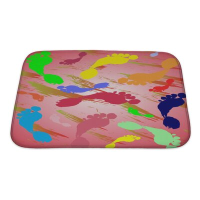 Human Touch Of Foot Prints and Colorful Splashes Bath Rug Size: Small