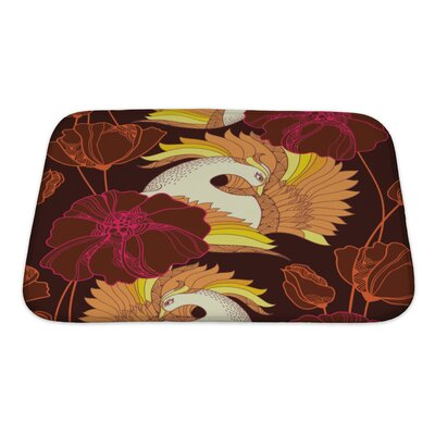 Birds with Mythological Firebird and Ornate Flowers Bath Rug Size: Small