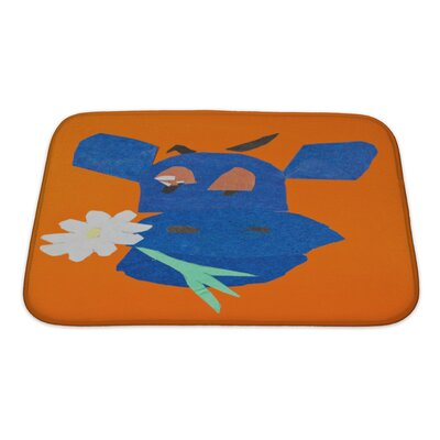 Animals Head of Happy Cow with Flower in Mouth Bath Rug Size: Small