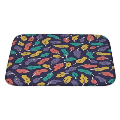 Leaves with Colorful Doodle Feathers Bath Rug Size: Large
