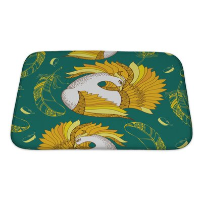 Birds with Mythological Firebird and Feathers Bath Rug Size: Small