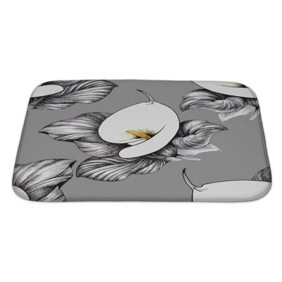 Flowers Calla Lilly Floral Bath Rug Size: Large, Color: Gray