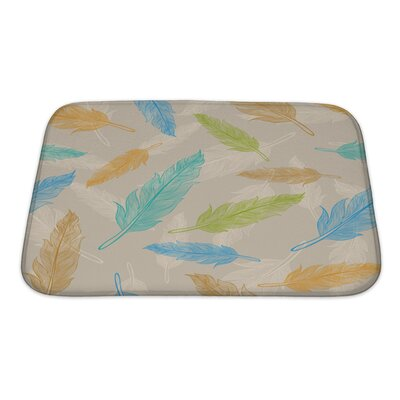 Leaves Color Feather Pattern Bath Rug Size: Small