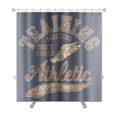 Vintage Artwork for Sportswear in Custom Colors, Grunge Effect in Separate Layer Premium Shower Curtain