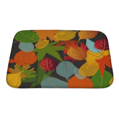 Leaves Leaf Warm Fall Colors of Autumn Bath Rug Size: Small