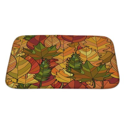 Leaves Abstract Doodle Autumn Leaves Pattern Bath Rug Size: Large