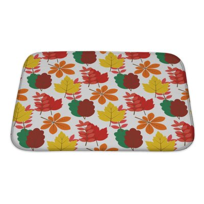 Slide Maple, Chestnut Autumn Leaves Seamles Pattern Bath Rug Size: Small