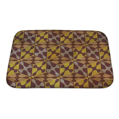 Gamma Vintage Pattern Geometric Bath Rug Size: Small, Color: Burgundy/Yellow