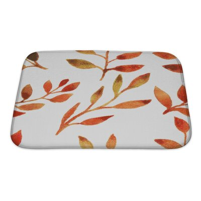 Leaves Autumn Watercolor Leaf Pattern Bath Rug Size: Small