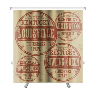 Vintage Grunge Rubber Stamp Set with Names of Kentucky Cities Premium Shower Curtain