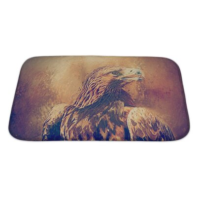 Birds Hawk Portrait Drawn Bath Rug Size: Large