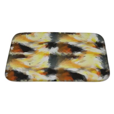 Art Beta Abstract Expressionistic in Battle and Explosions Tones Bath Rug Size: Large