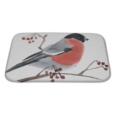 Birds Watercolor of a Bird Bullfinch Bath Rug Size: Large