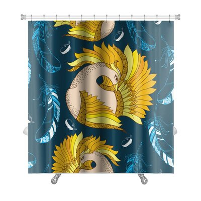Birds Mythological Firebird and Decorative Feathers Premium Shower Curtain