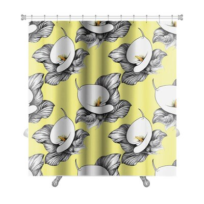 Flowers Calla Lilly Floral Premium Shower Curtain Color: Gray