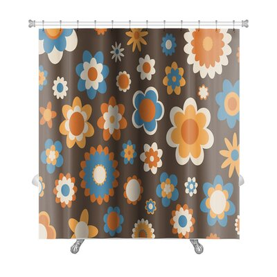 Beta Multicolored Funky Flowers Abstract Pattern Premium Shower Curtain Color: Brown
