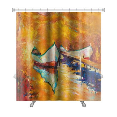 Art Touch Boats and Jetty Golden Sunset Over Ocean Premium Shower Curtain