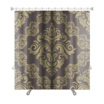 Simple Damask Floral Pattern with Arabesque and Oriental Elements Premium Shower Curtain