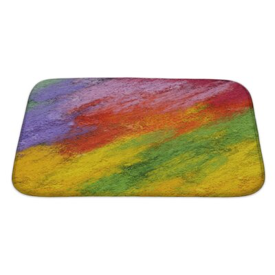 Art Primo Abstract Acrylic and Oil Pastel Hand Painted Impressionism Style Bath Rug Size: Large