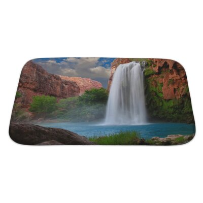 Landscapes Beautiful Waterfall Photographed with a Slow Shutter Speed to Blur the Water Bath Rug Size: Large