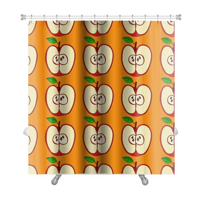 Fruit Pattern with Apples and Leaves Isolated Premium Shower Curtain