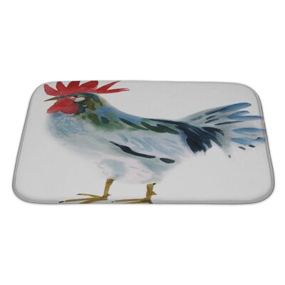 Birds Watercolor of a Hen Bath Rug Size: Large