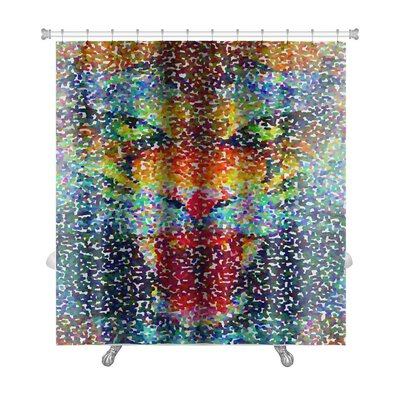 Animals Abstract Tiger Geometric Hipster Poster in Pointillism Style Premium Shower Curtain Color: Blue