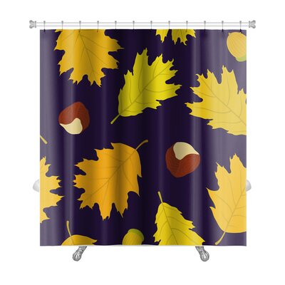 Leaves Pattern of Canadian Oaks Leaves, Acorns and Chestnuts Premium Shower Curtain