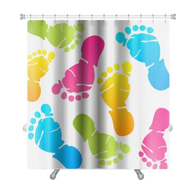 Human Touch Funny Baby Foot Prints Premium Shower Curtain