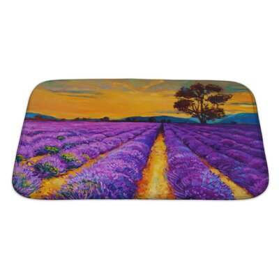 Landscapes Lavender Fields at Sunset, Modern Impressionism Bath Rug Size: Large