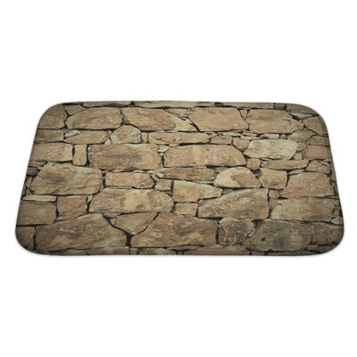 Wood Stone Wall Bath Rug Size: Large