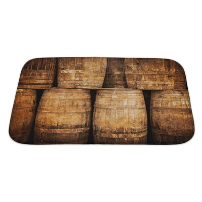 Vintage Stacked Whisky Barrels in Monochrome Vintage Style Bath Rug Size: Large