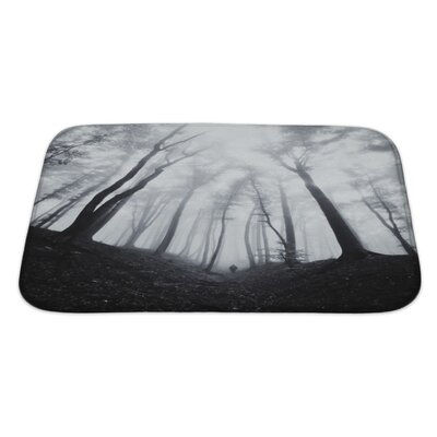 Nature Man Silhouette in Dark Spooky Misty Forest Bath Rug Size: Large
