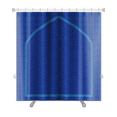 Arabic Touch Islamic Card with Net Pattern Premium Shower Curtain