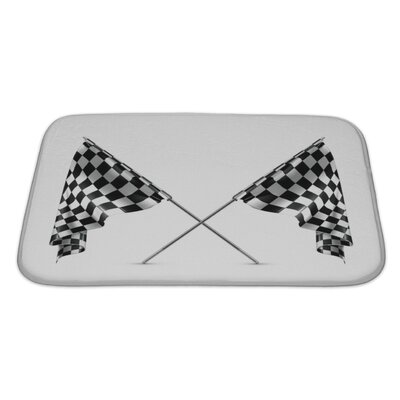 Cars 2 Crossed Checkered Flags Bath Rug Size: Large